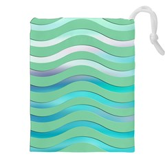Abstract Digital Waves Background Drawstring Pouches (xxl)