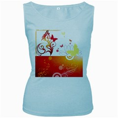 Spring Butterfly Flower Plant Women s Baby Blue Tank Top by BangZart