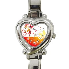 Spring Butterfly Flower Plant Heart Italian Charm Watch by BangZart