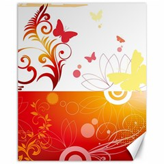 Spring Butterfly Flower Plant Canvas 11  X 14