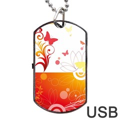 Spring Butterfly Flower Plant Dog Tag Usb Flash (one Side)