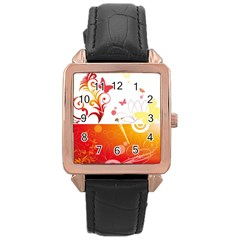 Spring Butterfly Flower Plant Rose Gold Leather Watch  by BangZart