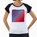 Dots Red White Blue Gradient Women s Cap Sleeve T Front