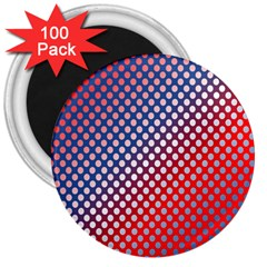 Dots Red White Blue Gradient 3  Magnets (100 Pack)