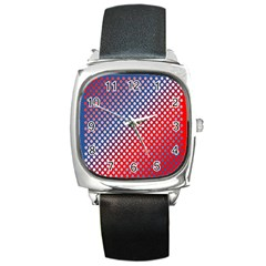 Dots Red White Blue Gradient Square Metal Watch