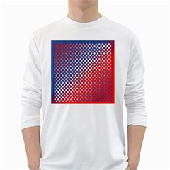 Dots Red White Blue Gradient White Long Sleeve T Shirts by BangZart