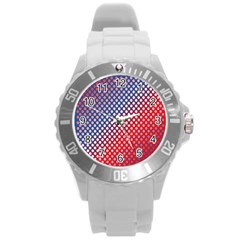 Dots Red White Blue Gradient Round Plastic Sport Watch (l) by BangZart