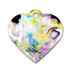 Watercolour Watercolor Paint Ink Dog Tag Heart (one Side)