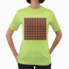 Pattern Pink Squares Square Texture Women s Green T Shirt by BangZart