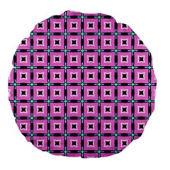 Pattern Pink Squares Square Texture Large 18  Premium Flano Round Cushions