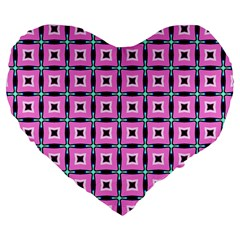 Pattern Pink Squares Square Texture Large 19  Premium Flano Heart Shape Cushions by BangZart
