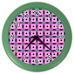 Pattern Pink Squares Square Texture Color Wall Clocks