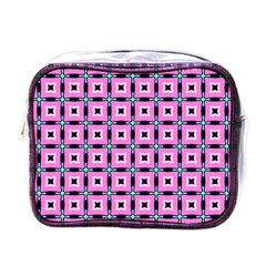 Pattern Pink Squares Square Texture Mini Toiletries Bags by BangZart