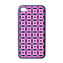 Pattern Pink Squares Square Texture Apple Iphone 4 Case (black)