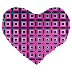 Pattern Pink Squares Square Texture Large 19  Premium Heart Shape Cushions by BangZart