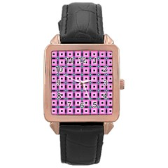 Pattern Pink Squares Square Texture Rose Gold Leather Watch