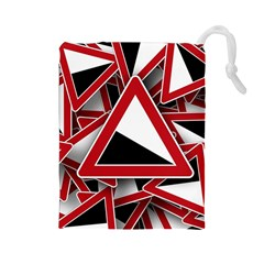 Road Sign Auto Gradient Down Below Drawstring Pouches (large)