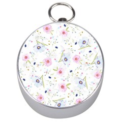 Floral Pattern Background Silver Compasses by BangZart