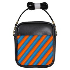 Diagonal Stripes Striped Lines Girls Sling Bags by BangZart