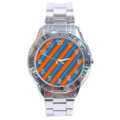 Diagonal Stripes Striped Lines Stainless Steel Analogue Watch