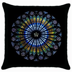 Rose Window Strasbourg Cathedral Throw Pillow Case (black)