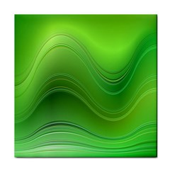 Green Wave Background Abstract Tile Coasters