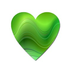 Green Wave Background Abstract Heart Magnet by BangZart