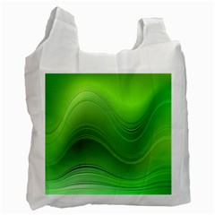 Green Wave Background Abstract Recycle Bag (one Side)