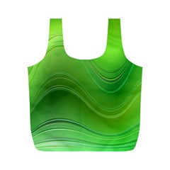 Green Wave Background Abstract Full Print Recycle Bags (m)
