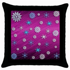 Snowflakes 3d Random Overlay Throw Pillow Case (black) by BangZart