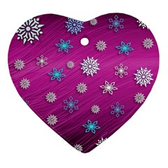 Snowflakes 3d Random Overlay Heart Ornament (two Sides) by BangZart