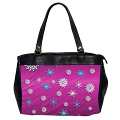 Snowflakes 3d Random Overlay Office Handbags (2 Sides)  by BangZart