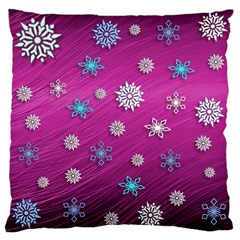 Snowflakes 3d Random Overlay Large Cushion Case (one Side)