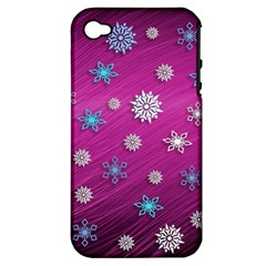 Snowflakes 3d Random Overlay Apple Iphone 4/4s Hardshell Case (pc+silicone)