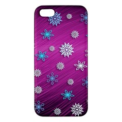 Snowflakes 3d Random Overlay Apple Iphone 5 Premium Hardshell Case