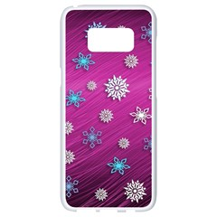 Snowflakes 3d Random Overlay Samsung Galaxy S8 White Seamless Case