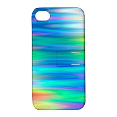 Wave Rainbow Bright Texture Apple Iphone 4/4s Hardshell Case With Stand