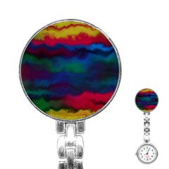 Watercolour Color Background Stainless Steel Nurses Watch
