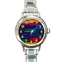 Watercolour Color Background Round Italian Charm Watch