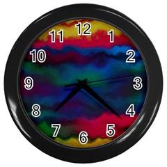 Watercolour Color Background Wall Clocks (black)