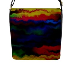 Watercolour Color Background Flap Messenger Bag (l)