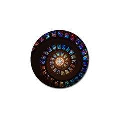 Stained Glass Spiral Circle Pattern Golf Ball Marker by BangZart