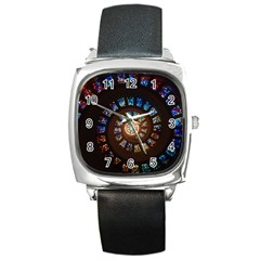 Stained Glass Spiral Circle Pattern Square Metal Watch by BangZart