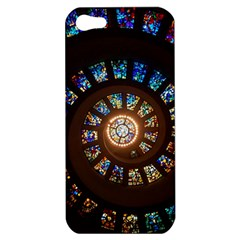 Stained Glass Spiral Circle Pattern Apple Iphone 5 Hardshell Case by BangZart