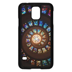 Stained Glass Spiral Circle Pattern Samsung Galaxy S5 Case (black) by BangZart