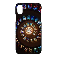 Stained Glass Spiral Circle Pattern Apple Iphone X Hardshell Case by BangZart