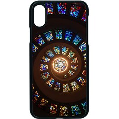 Stained Glass Spiral Circle Pattern Apple Iphone X Seamless Case (black) by BangZart