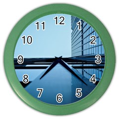 Architecture Modern Building Facade Color Wall Clocks by BangZart