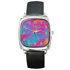 Abstract Fantastic Fractal Gradient Square Metal Watch