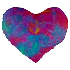 Abstract Fantastic Fractal Gradient Large 19  Premium Flano Heart Shape Cushions